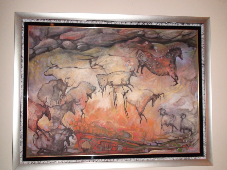 Lascaux Mon Amour by Armand Vallee. This is Armand Vallee's most powerful work of art... a signature piece that showcases the wonder and majesty of the Lascaux caves in Southern France. Vallee has a unique vision and ability to capture the primal essence of the cave wall. There is no more magnificent visual experience of the Lascaux cave paintings than to stand in front of this masterpiece. It is about 30 x 48 inches.