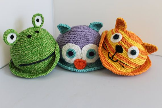 Hand made 100% cotton animal hats for toddlers! Hand crocheted, breathable and fun. Not to mention completely unique :-)