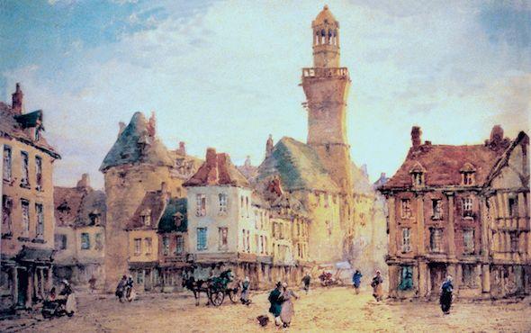 Vire place de l hotel de ville XIXe -siecle Vire Normandy before 1944  http://www.normandythenandnow.com/rise-like-a-phoenix-vire/