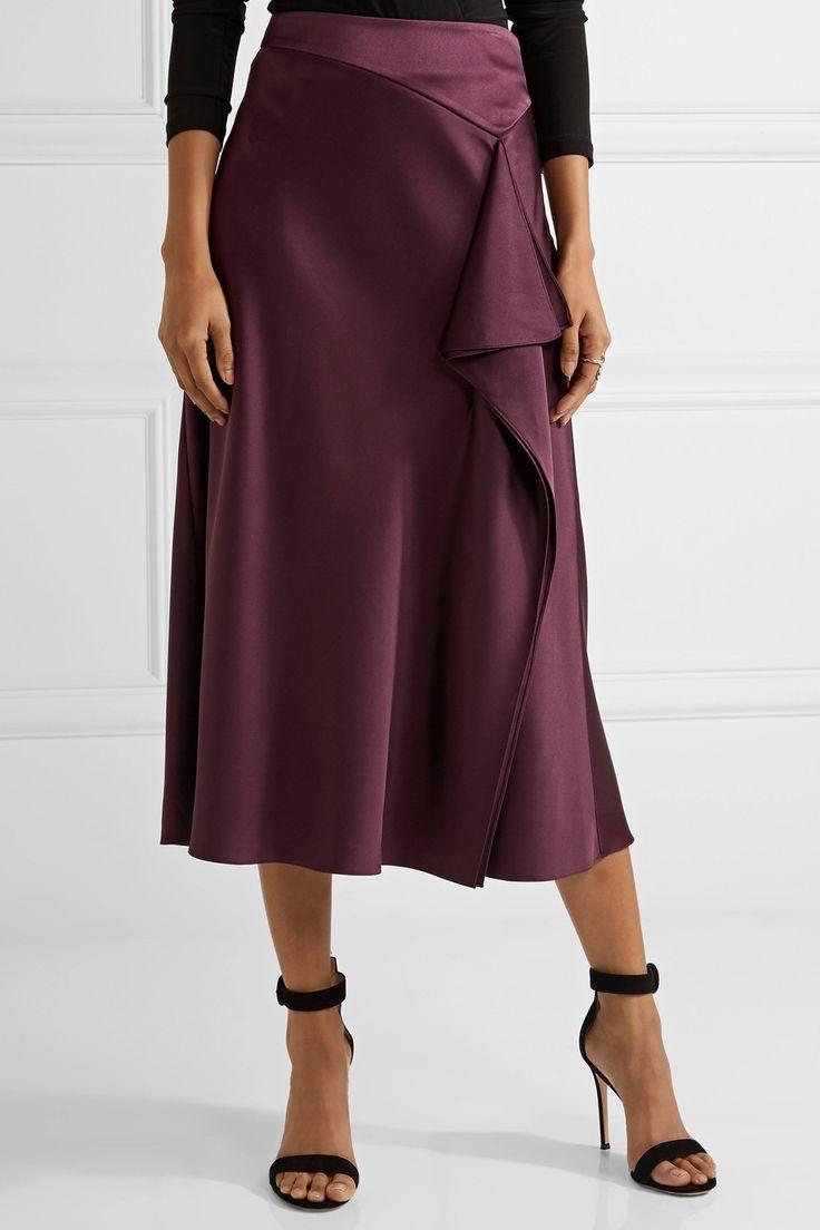 Cushnie et Ochs | Draped silk-charmeuse midi skirt | NET-A-PORTER.COM