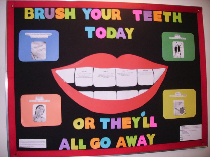 Bulletin Board created for a kindergarten classroom. This picture displays a nice size smile with attractive, colorful letters. This help the students learn the importance of brushing their teeth.