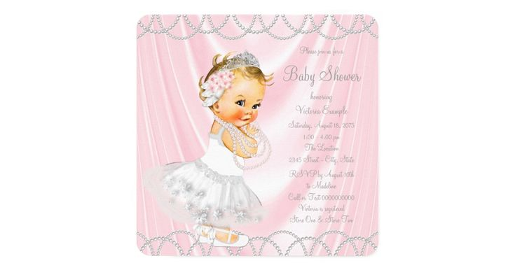 Girls pink and gray baby shower invitation with adorable little lady baby girl wearing a pretty pink and white tutu dress and pearls with tiara on a beautiful pink satin and pearl background. This elegant girly pink satin pearl baby shower invitation is easily customized for your event by simply adding your details in the wording and font style of your choice. This is a printed design with no real satin, pearls, etc.