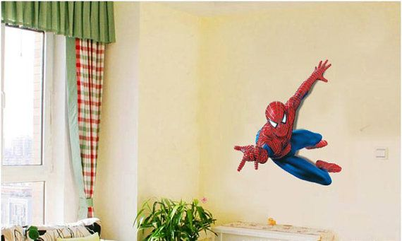 X Large spiderman wall decal art boys bedroom wall by ilovemyhome, $18.00