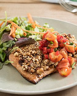Dinner: Cashew Nuts Salmon with Salsa and Side Salad
