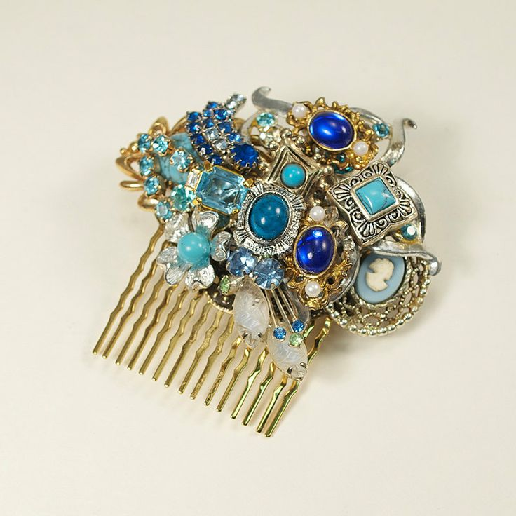 Gold Blue Turquoise Royal Blue Vintage Bridal by GildedShadows, $60.00