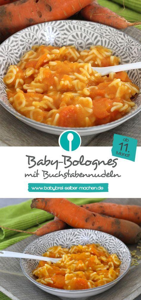 Bébé-Bolognaise: Karotten-Rindfleischbrei mit Buchstabennudeln – Mittagsbrei Rezept  – Brei