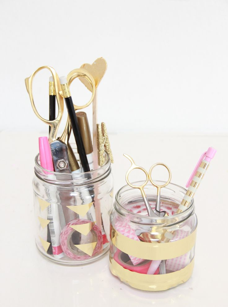 Tutorial: How to make DIY Desk Organisers using Metallic Gold Washi Tape