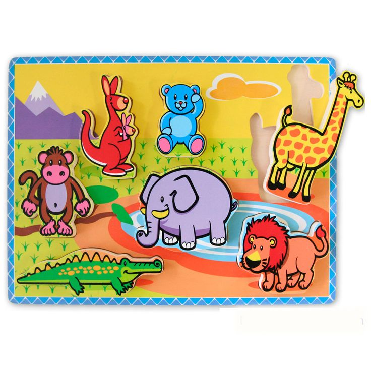 #Wooden Chunky Raised #Jungle #Animals #Puzzle