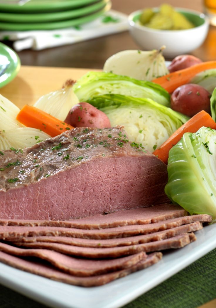 Corned Beef and Cabbage —This traditional Irish dish features corned beef slowly simmered with onions, potatoes, carrots, cabbage, beef broth, and beer. The result is a mouthwatering meal that everyone will love!