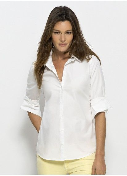 Casual Boss ladies' #button-up tailored work shirt in classic White. This premium shirt is #fairtrade and made in Bangladesh from #organiccotton.