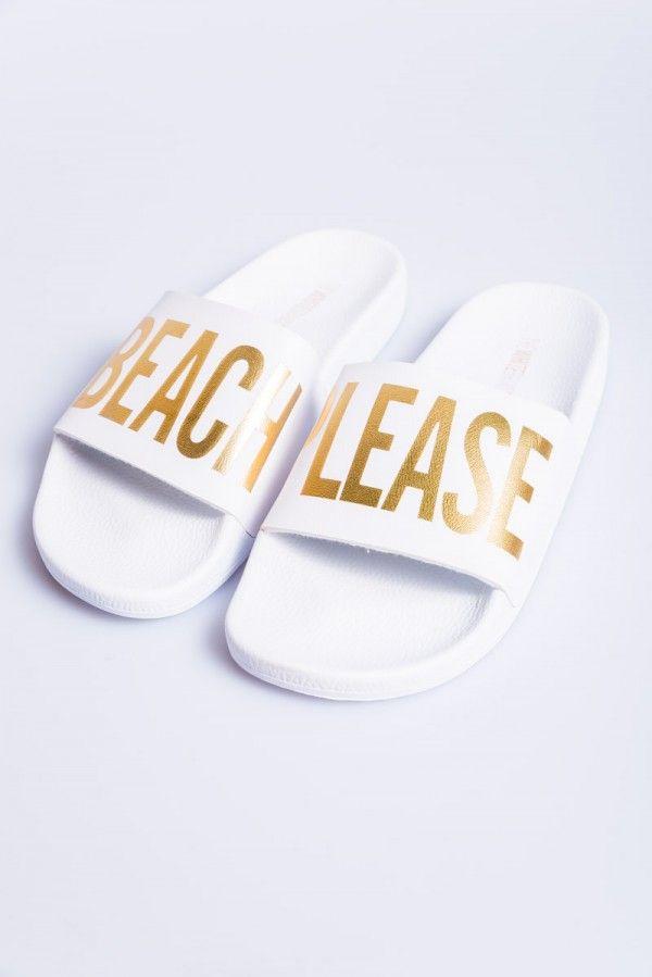 b2875e46c The White Brand Slides - Beach Please White