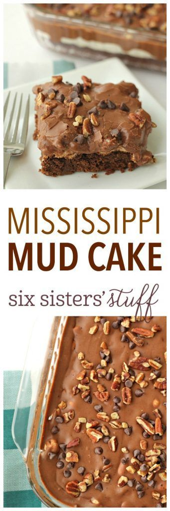 Mississippi Mud Cake from SixSistersStuff.com | This gooey, chocolatey, decadent cake with a marshmallow layer and rich frosting is the best dessert recipe for any potluck or party!