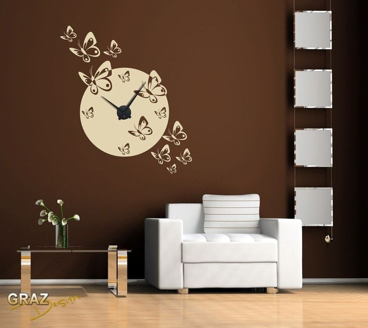 sticker mural horloge murale essaim de papillon pour votre. Black Bedroom Furniture Sets. Home Design Ideas