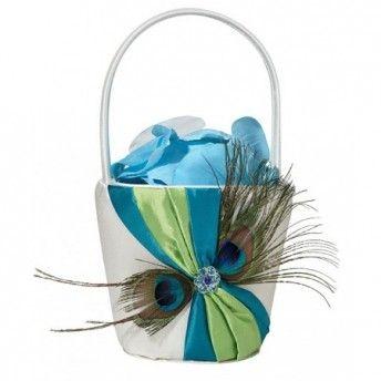 Un cestino porta petali fuori dal comune: turchese e con piume di pavone!