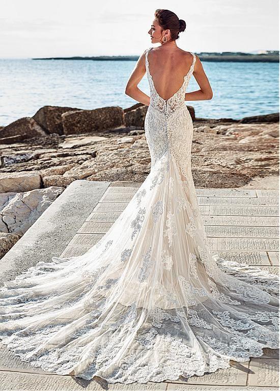 [285.20] Elegant Tulle V Neck Neckline Natural Waistline Mermaid Wedding Dress With Lace Appliques & Beadings