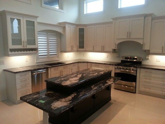 Dove White with Tuxedo Island by Raywal Cabinets