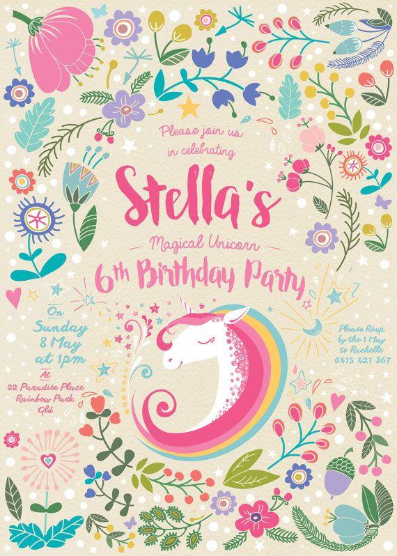 Unicorn Party Invitation Customized by RachelleTylerDesign