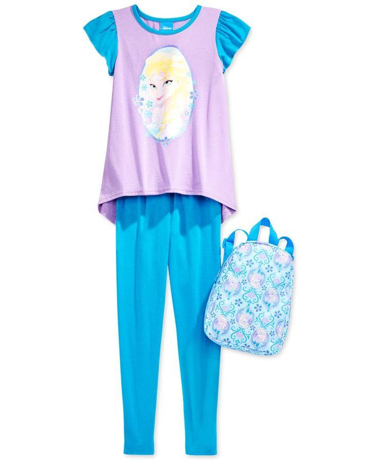 Disney Little Girls' 3-Piece Frozen Elsa T-Shirt, Leggings & Backpack Set
