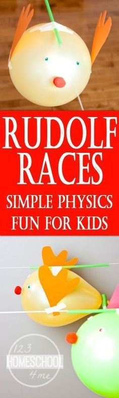Rudolph Races is an outrageously fun Christmas games for the whole family. It is simple to set-up and will teach them some simple physics too! Perfect for homeschool, Christmas learning activities, Christmas Parties and more! (toddler, preschool, kindergarten, first grade, 2nd grade, 3rd grade, 4th grade, 5th grad,e 6th grade)