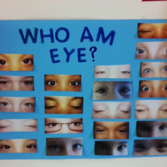Guess whose eyes are who! Helps children make eye contact. Notice what is different and the same about each other. Can turn into a book when you take them off the bulletin board!                                                                                                                                                      More