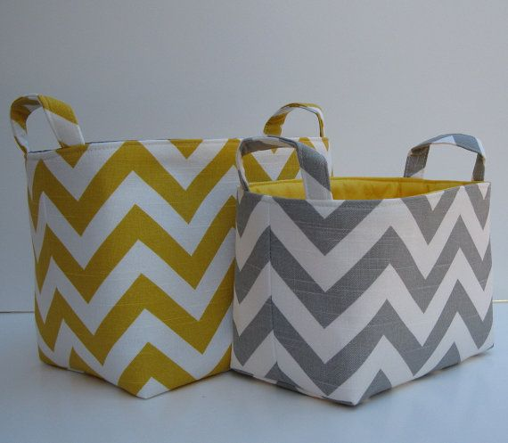 grey and yellow chevron baskets--looks like the same fabric @Ginine Ledbetter??