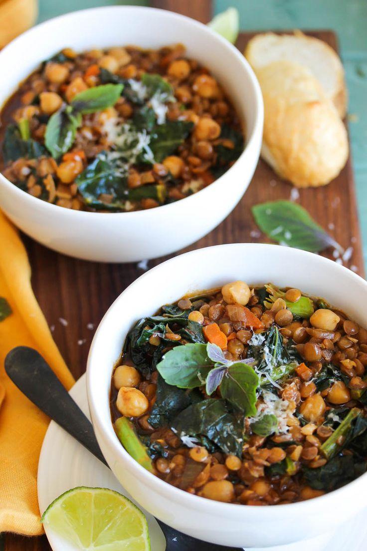 Smoky Chickpea Lentil Soup (vegan, gluten free) | dishingouthealth.com