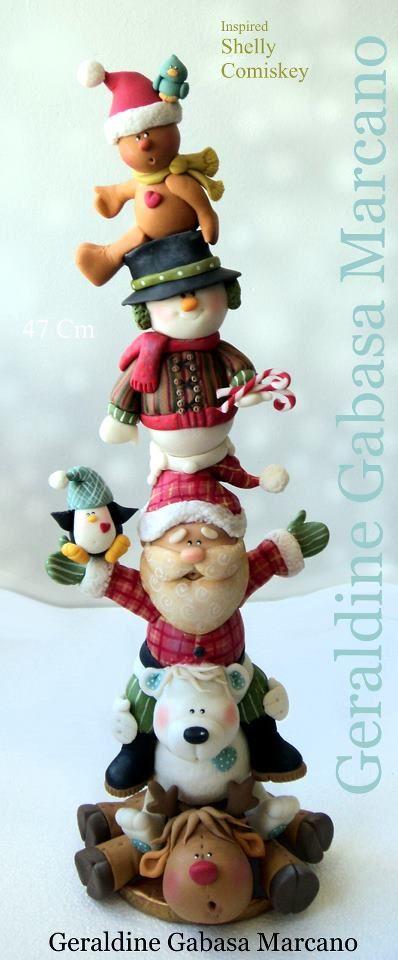 Navidad totem porcelana fria polymer clay by Geraldine Gabasa Marcano.