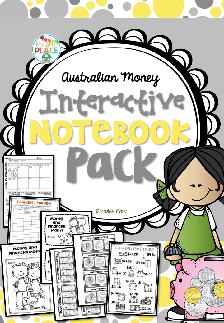 Money - Interactive Notebook: Explore an open ended task while you take Master Classes on Australian Money concepts. This pack provides pages for an Interactive Folder on Australian Money. The folder will assist your students to explore – money in different combinations. 63 pages for $5.50! http://designedbyteachers.com.au/marketplace/money-interactive-notebook/