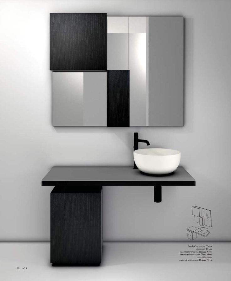 Multiplo modular bathroom collection by CIELO, made up of ceramic washbasin and lacquered wood top in the Basalto finish. The base structure is in matt black lacquer and the drawers are black oak. The wall units have the same finish, alternating and combining with the mirror. The color combination boosts the line's dynamic style and young, carefree spirit. #bathroomdesign #ceramic #interiordesign #HandMadeinItaly #Inspiration #washbasin