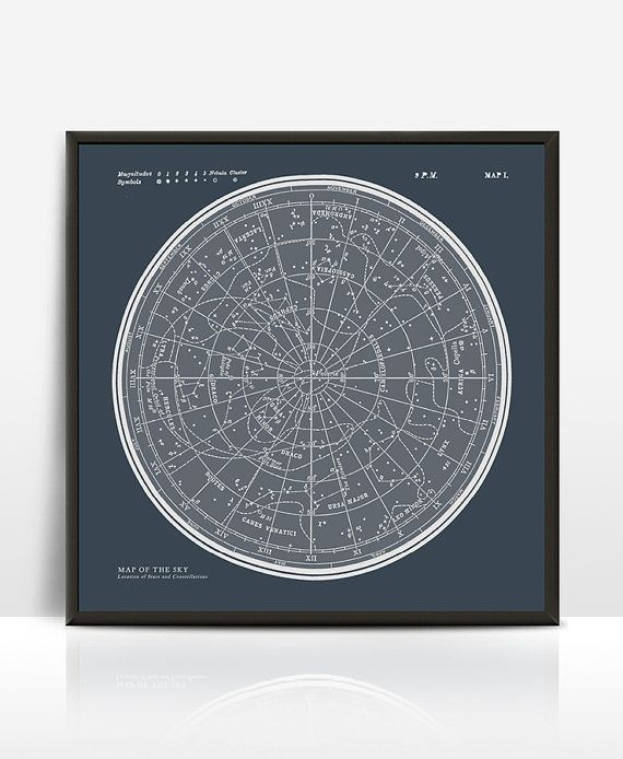 Carte étoile Constellations encadrement affiche. par ILKADesign