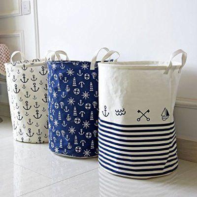 Fieans Fabric Foldable Large Storage Bin Toy Box/ Toy Storage/ Toy Organizer for Boys and Girls - Kids Laundry Basket/ Nursery Hamper-Blue Stripe