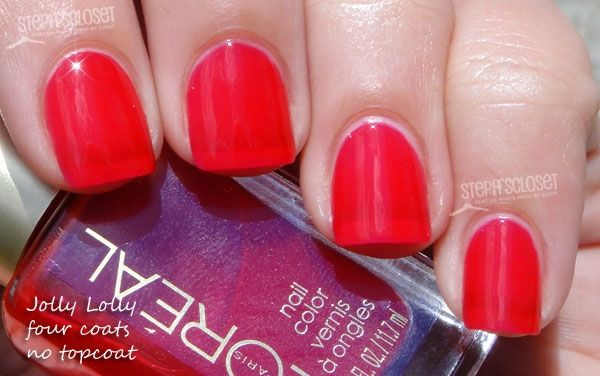 Steph's Closet Photo: L'oreal Jolly Lolly Nail Polish.  Not too long ago (earlier this summer), L'oreal put out a line of jellies.  They were AMAZING.  This is the red one.  RED JELLY.  It's very pretty.  :)