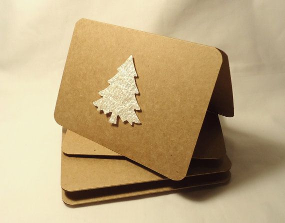 Christmas card craft ideas - Oragami on brown paper cards
