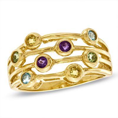 Multi-Gemstone Ring in 10K Gold