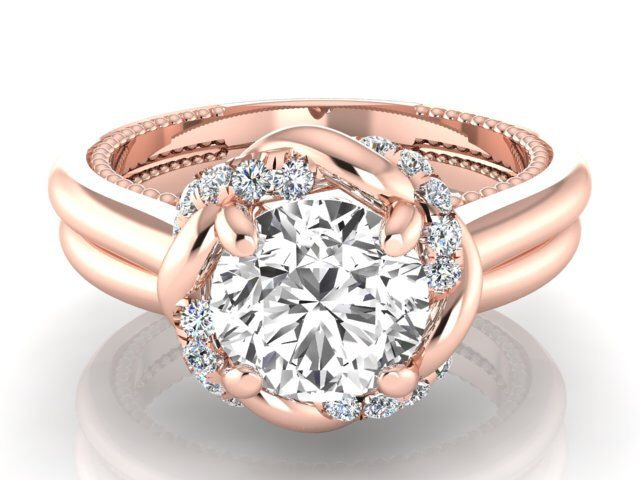 Awesome Engagement ring set Rose gold Bridal ring set Sapphire u Diamonds ring set