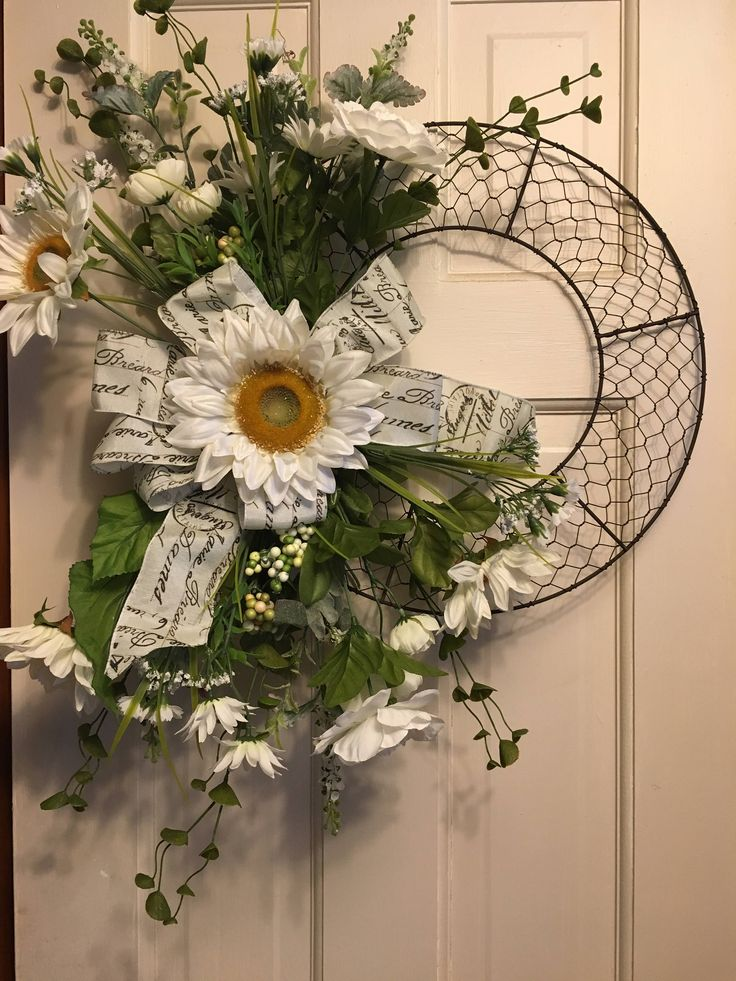 French Country Rustic Chicken wire wreath- white sunflowers, and posies, ribbon with french script. by 9PatchLane on Etsy