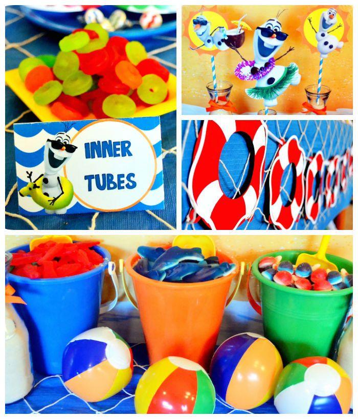 Olaf's Summer Bash + Frozen themed birthday party via Kara's Party Ideas KarasPartyIdeas.com Printables, cake, invitation, decor, supplies, ...