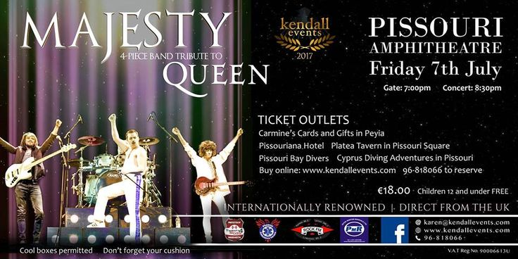 ★ Majesty (Queen tribute) | Pissouri amphitheatre, Fri 7 July ★ #queentribute #majesty #pissourievent #pissouriamphitheatre https://plus.google.com/+PissouribayCyp/posts/jGA5JYLre3m