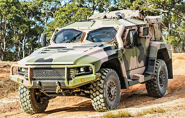The Hawkei, named for a highly venomous Australian snake, is a 4×4 light protected mobility vehicle (PMV) for armored patrol, mobile command and special operations missions. The Australian Defence Force could procure up to 1,300 Hawkeis. They typically carry four to six troops, weapons including .50-caliber machine guns, 40mm grenade launchers and even small radar units, and weigh about 7 tons.