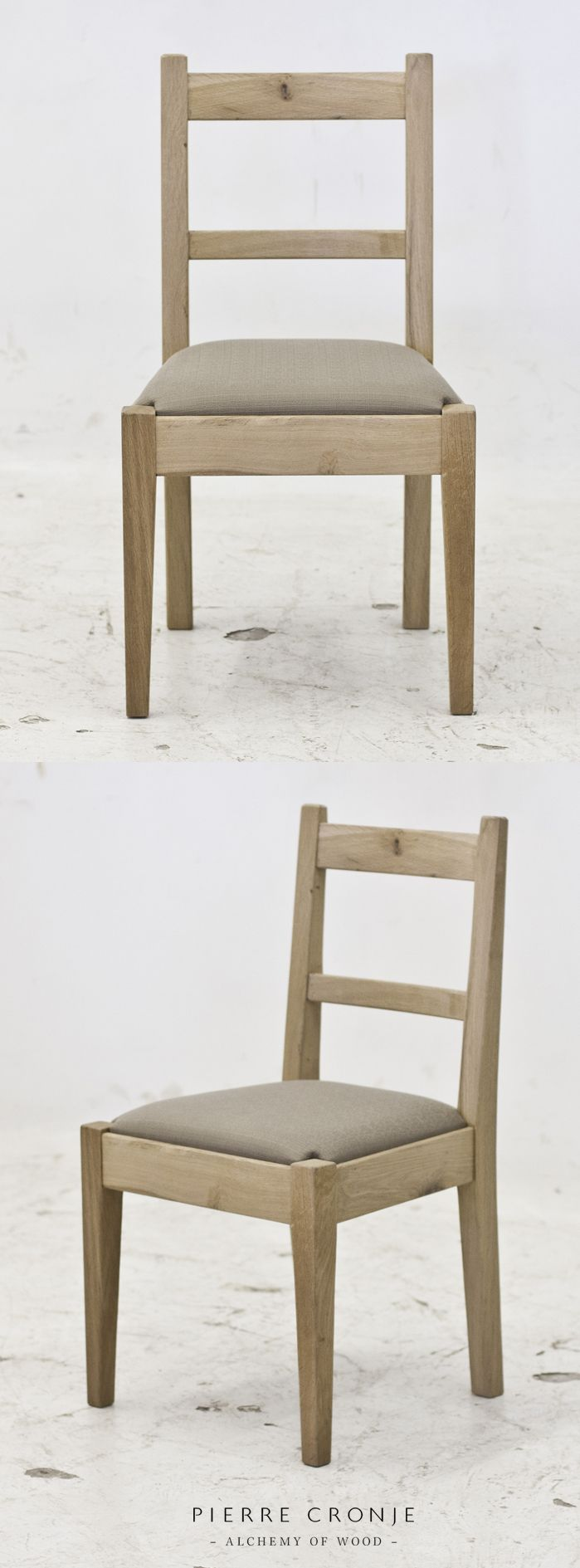 Pierre Cronje's 'Simply Pierre' Karoo Chair with a drop-in upholstered seat. French Oak with a blackwash finish