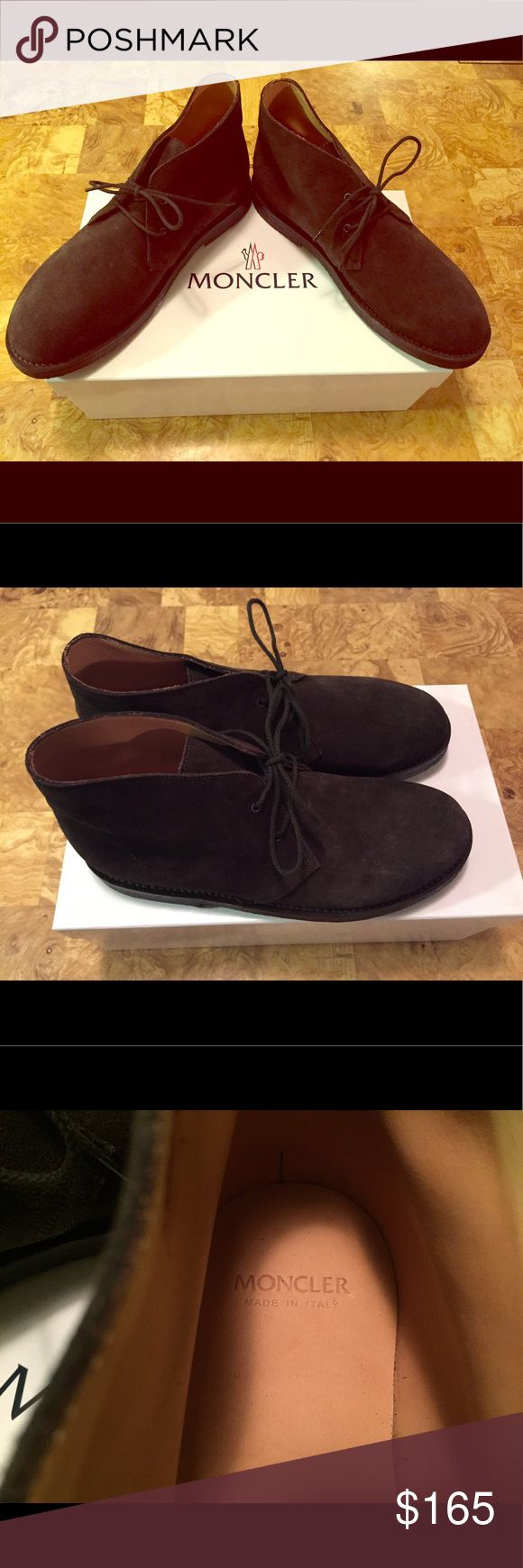 Moncler shoes Suede dark brown shoes. Worn maybe once or none. Perfect conditions and orinal box with packing tissue. Dust bag included. Moncler Shoes Ankle Boots & Booties