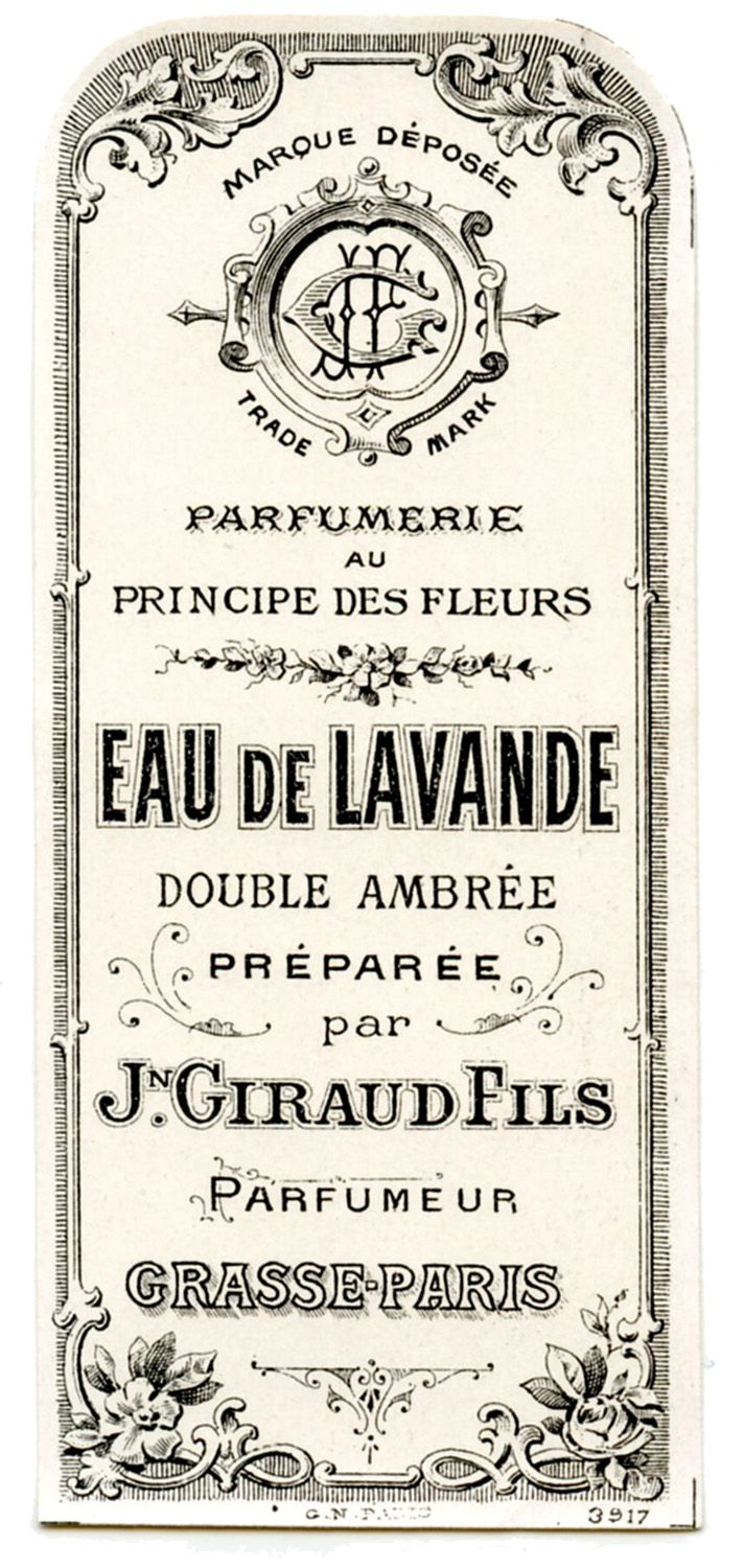 Old Label - French Perfume - very luxurious - we could take a dash of this direction and bring it modern...