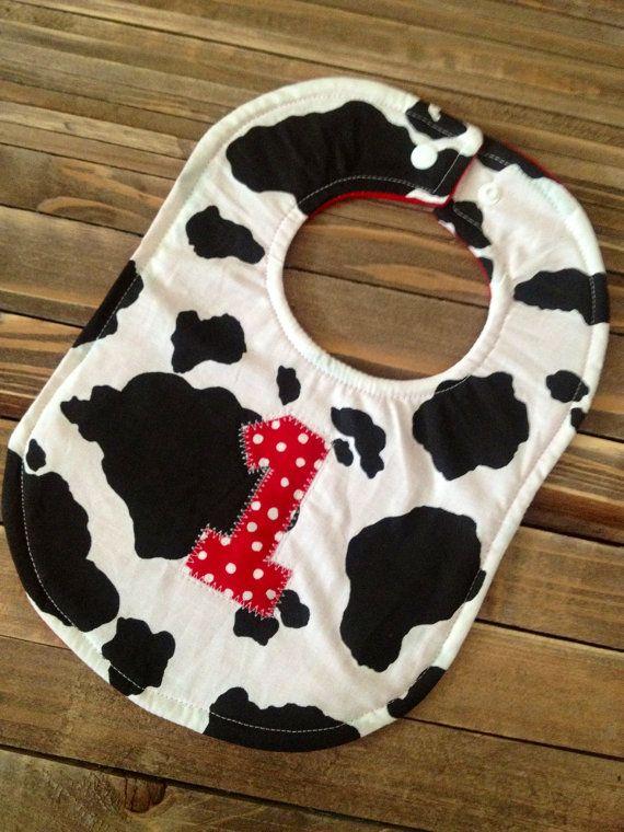 Personalized Cowboy Cowgirl Baby Bib Farm Animal Birthday Party Cow Animal via Etsy