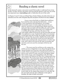 Here's an excerpt from Hard Times by Charles Dickens. In this reading worksheet, your child will read a description of Coketown and answer questions about Dickens' use of language.