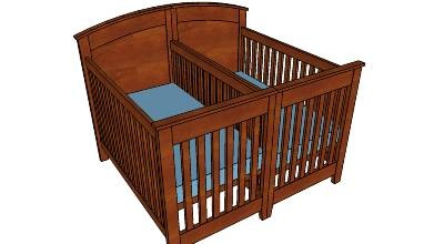 A stylish crib for twins that has Craftsman vibe to it.