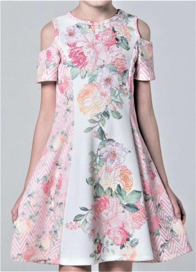 a4a5a06f2 Vestido Infantil Petit Cherie Rosa em Crepe de Neoprene Rosa e Off White.  Estampas delicadas florais e diagonais. Cravejado de brilhos termocolantes