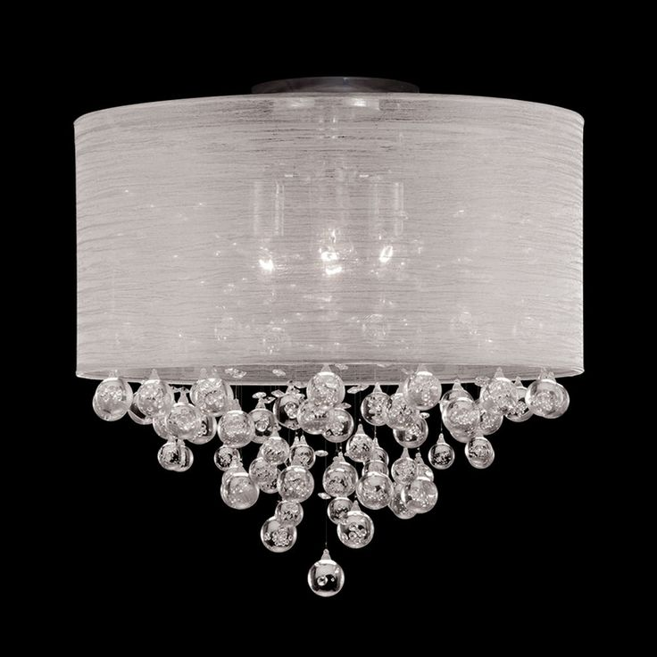 """New 4 Lamp Drum Shade Flush Mount Crystal Tear Bubble Ball Ceiling Light Dia 20"""" #Contemporary"""