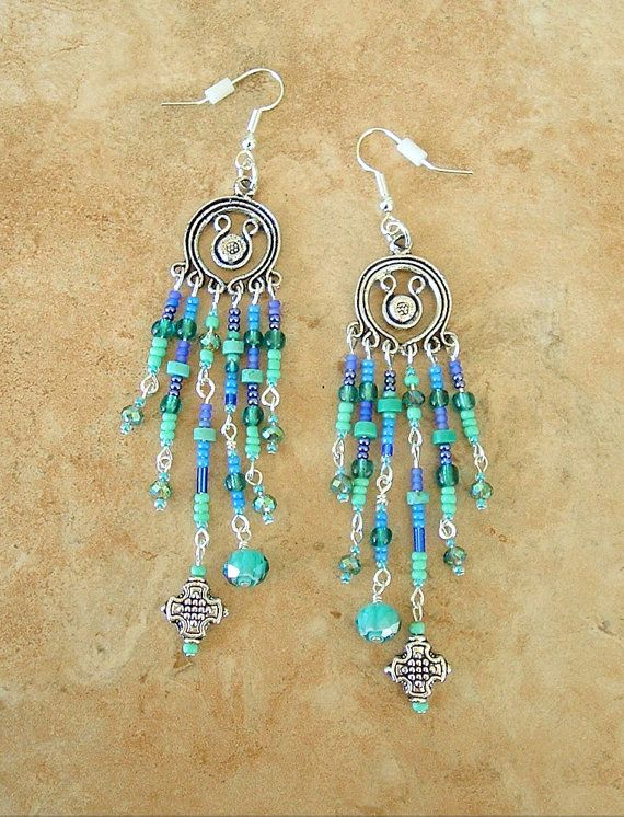 Boho Earrings Chandelier Earrings Long Beaded by BohoStyleMe