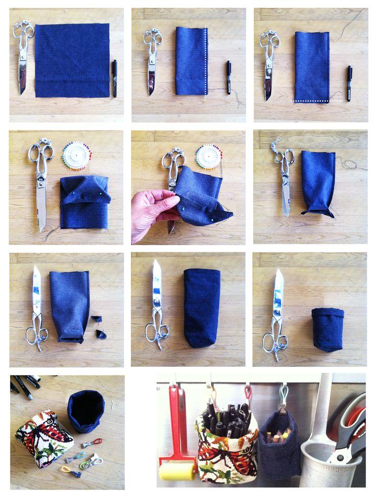 DIY pot à crayon en tissu - www.tambouille.fr en un peu plus grad pour une poubelle de bureau peut-être