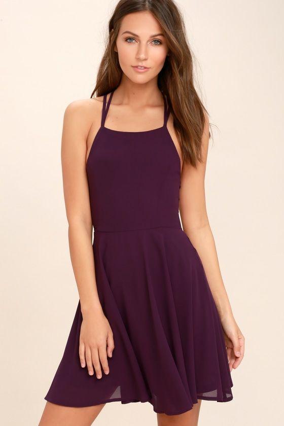 866a1560cd Reward your good behavior with a treat like the Good Deeds Plum Purple Lace-Up  Dress! Dreamy